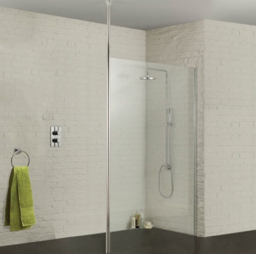 Sommer Wetroom Glass Panel 1100mm - Ceiling Pole Options